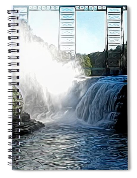 Letchworth State Park Upper Falls And Railroad Trestle Abstract Spiral Notebook