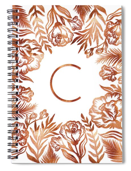 Letter C - Rose Gold Glitter Flowers Spiral Notebook