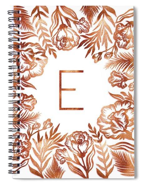 Letter E - Rose Gold Glitter Flowers Spiral Notebook