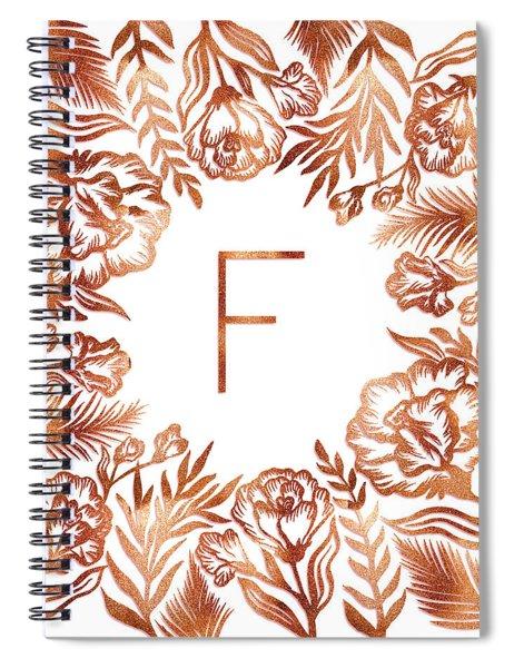 Letter F - Rose Gold Glitter Flowers Spiral Notebook