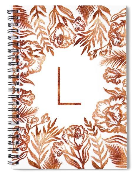 Letter L - Rose Gold Glitter Flowers Spiral Notebook