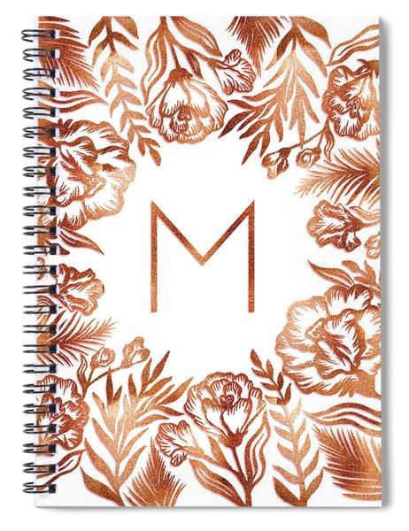 Letter M - Rose Gold Glitter Flowers Spiral Notebook