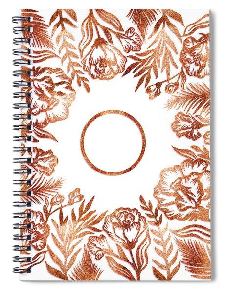 Letter O - Rose Gold Glitter Flowers Spiral Notebook