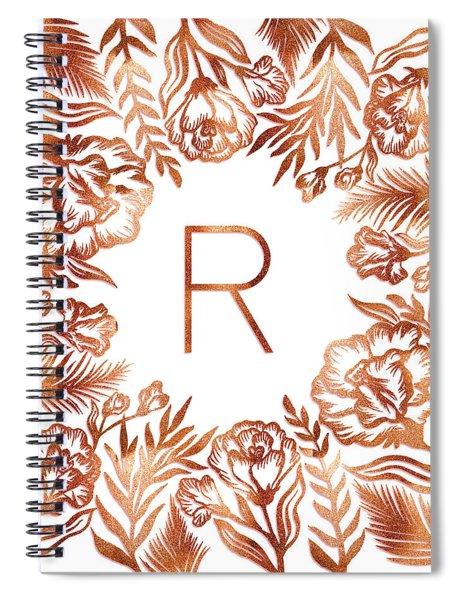 Letter R - Rose Gold Glitter Flowers Spiral Notebook