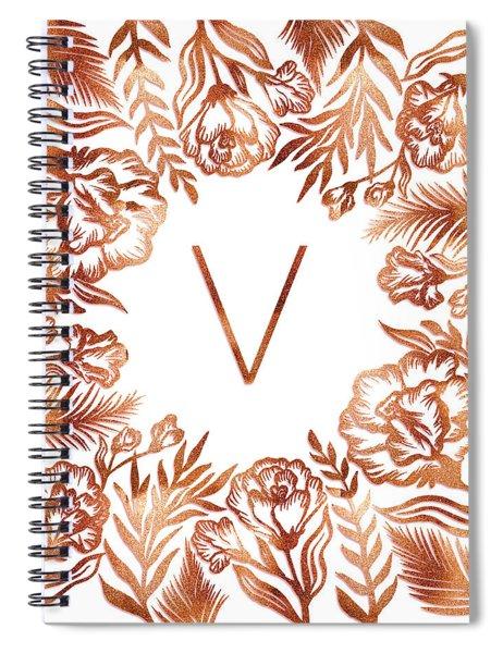 Letter V - Rose Gold Glitter Flowers Spiral Notebook
