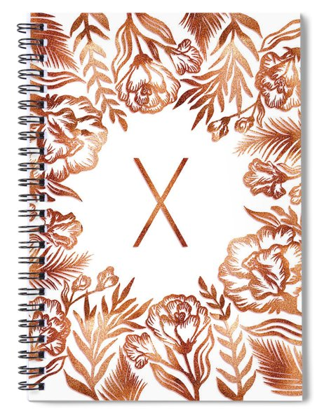 Letter X - Rose Gold Glitter Flowers Spiral Notebook