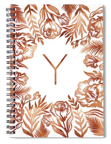 Letter Y - Rose Gold Glitter Flowers Spiral Notebook