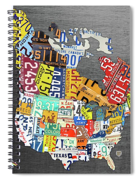 License Plate Map Of North America Canada And The United States On Gray Metal Spiral Notebook