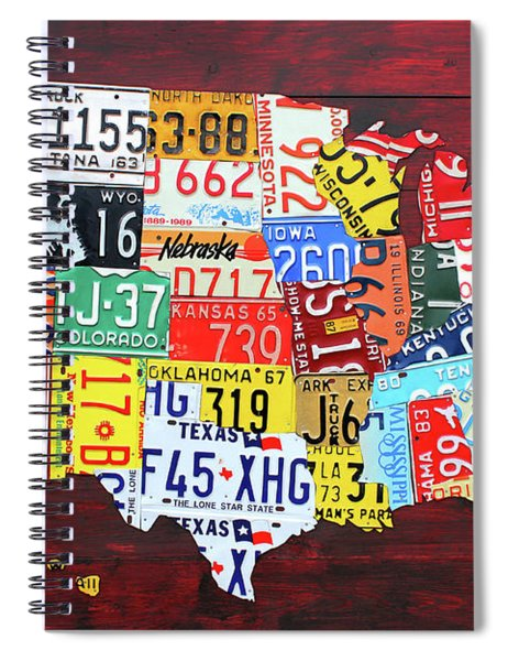 License Plate Map Of The United States Custom Edition 2017 Spiral Notebook