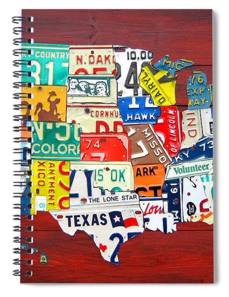 License Plate Map Of The United States - Midsize Spiral Notebook