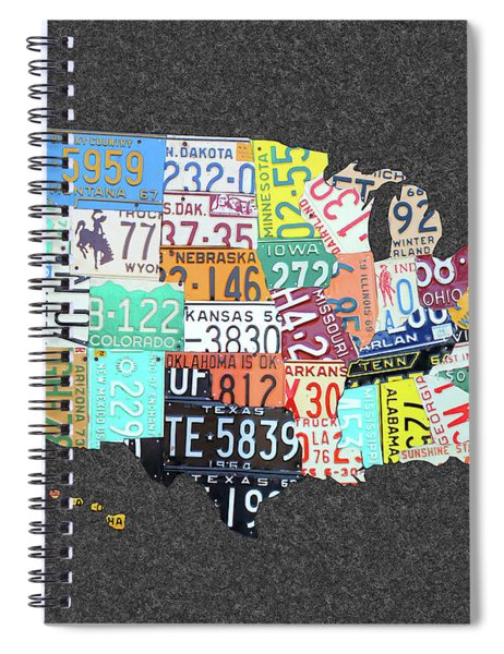License Plate Map Of The United States On Gray Felt Large Format Sizing Spiral Notebook