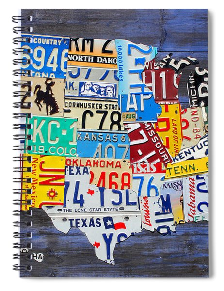 License Plate Map Of The Usa On Blue Wood Boards Spiral Notebook