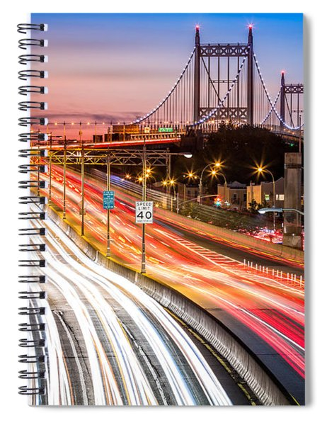 Light Trails On I-278 Near Triboro Bridge Spiral Notebook