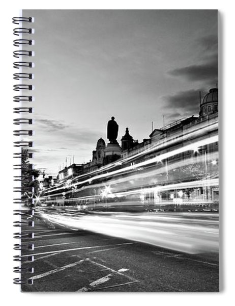 Spiral Notebook featuring the photograph Light Trails On O'connell Street At Night - Dublin by Barry O Carroll