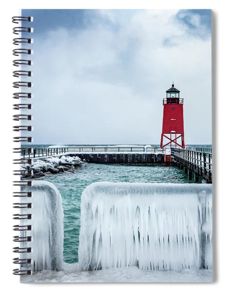 Lighthouse And Ice Spiral Notebook