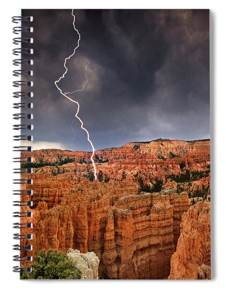 Lightning Over Hoodoos Bryce Canyon National Park Utah Spiral Notebook by Dave Welling