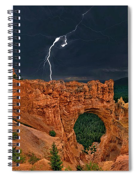Lightning Over Natural Bridge Formation Bryce Canyon National Park Utah Spiral Notebook by Dave Welling