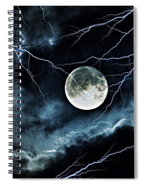 Lightning Sky At Full Moon Spiral Notebook