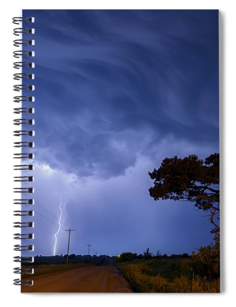 Lightning Storm On A Lonely Country Road Spiral Notebook