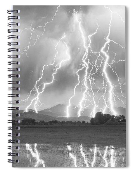 Lightning Striking Longs Peak Foothills 4cbw Spiral Notebook