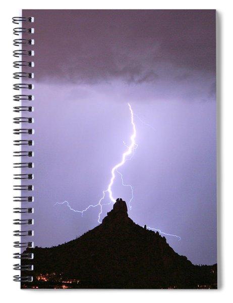 Lightning Striking Pinnacle Peak Scottsdale Az Spiral Notebook