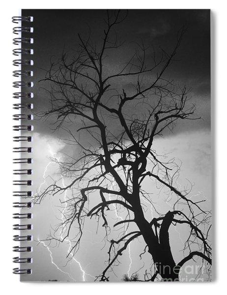 Lightning Tree Silhouette Portrait Bw Spiral Notebook
