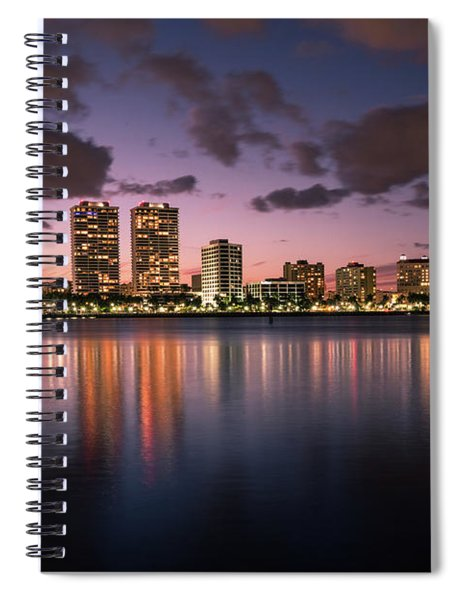 Lights At Night In West Palm Beach Spiral Notebook