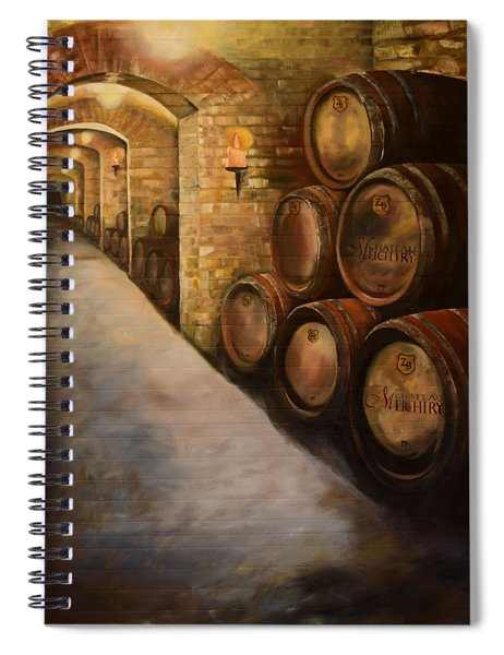 Spiral Notebook featuring the painting Lights In The Wine Cellar - Chateau Meichtry Vineyard by Jan Dappen