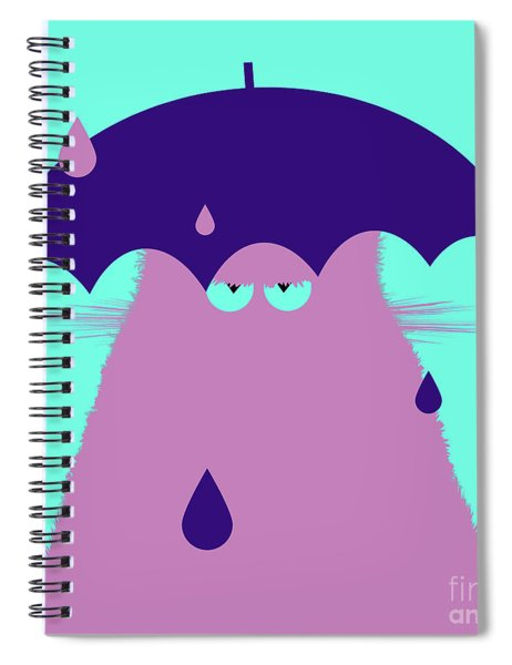 Lilac Cat With Umbrella Spiral Notebook