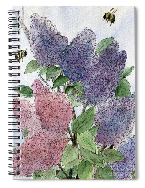 Lilacs And Bees Spiral Notebook