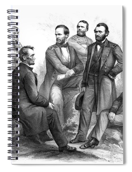 Lincoln And His Generals Black And White Spiral Notebook