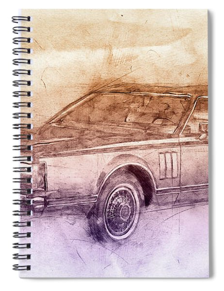 Lincoln Continental Mark V 2- 1977 - Automotive Art - Car Posters Spiral Notebook