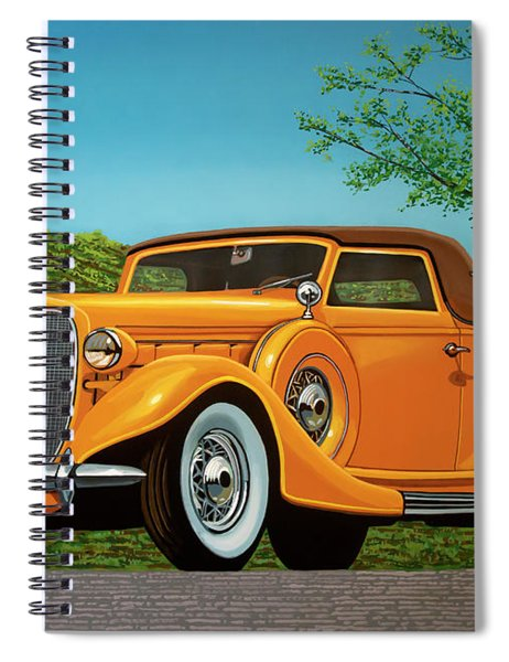 Lincoln K Convertible 1935 Painting Spiral Notebook