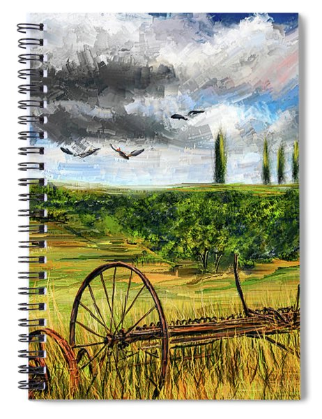 Lingering Memories Of The Past - Pastoral Artwork - Antique And Vintage Farm Equipment Spiral Notebook