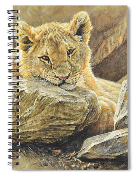 Spiral Notebook featuring the painting Lion Cub Study by Alan M Hunt