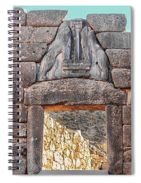 Lion Gate In Ancient Greek Ruins At Mycenae Spiral Notebook