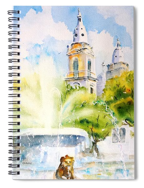 Lions Fountain Plaza Las Delicias  Ponce Cathedral Puerto Rico Spiral Notebook