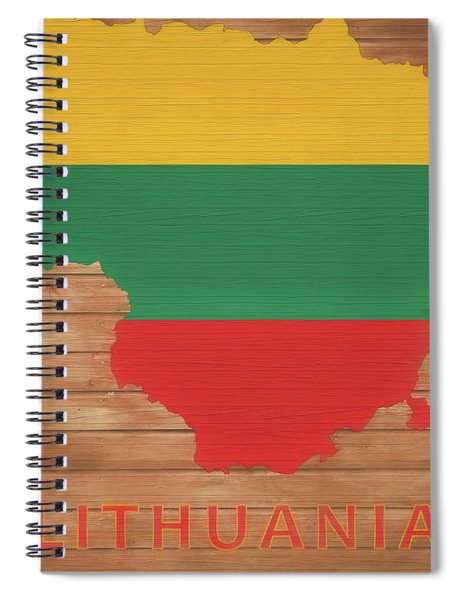 Lithuania Rustic Map On Wood Spiral Notebook