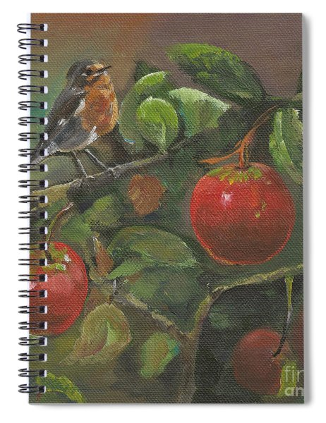 Spiral Notebook featuring the painting Little Bird In The Apple Tree by Jan Dappen