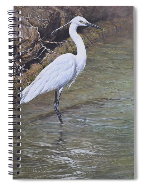 Spiral Notebook featuring the painting Little Egret by Alan M Hunt
