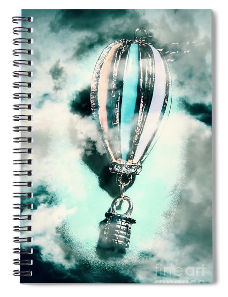 Little Hot Air Balloon Pendant And Clouds Spiral Notebook