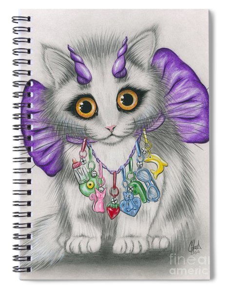 Little Purple Horns - 1980s Cute Devil Kitten Spiral Notebook