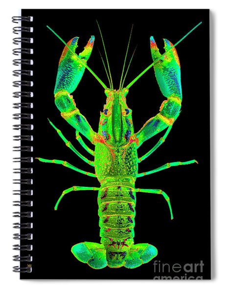Lobster Crawfish In The Dark - Greenlime Spiral Notebook