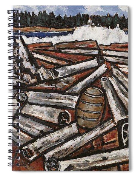 Logjam Backwaters Up Millinocket Way No. 3 By Marsden Hartley Spiral Notebook