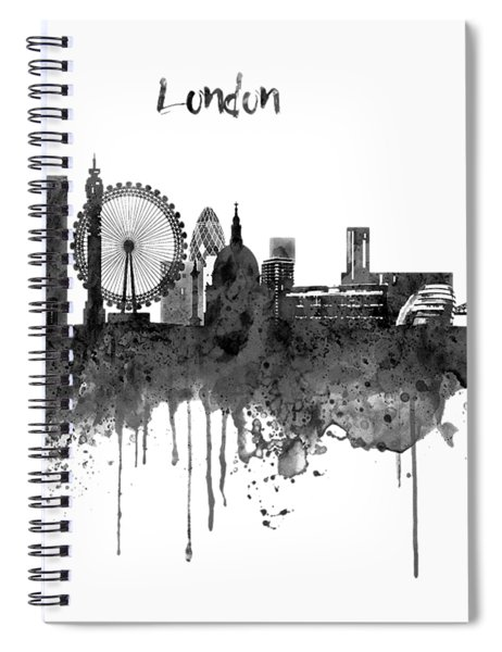 London Black And White Skyline Watercolor Spiral Notebook