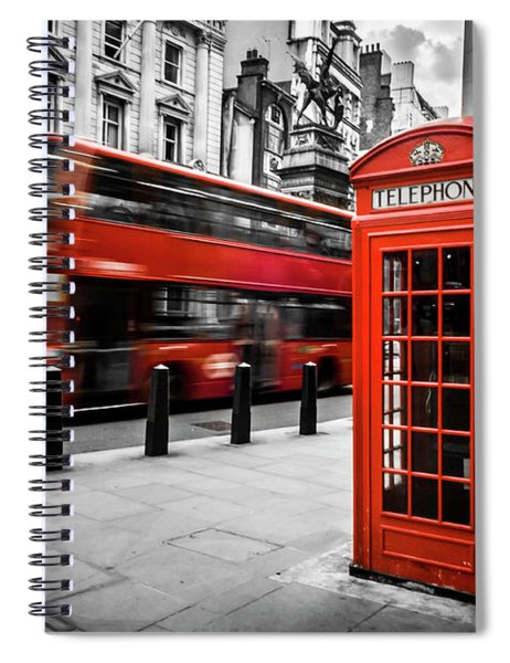 London Bus And Telephone Box In Red Spiral Notebook