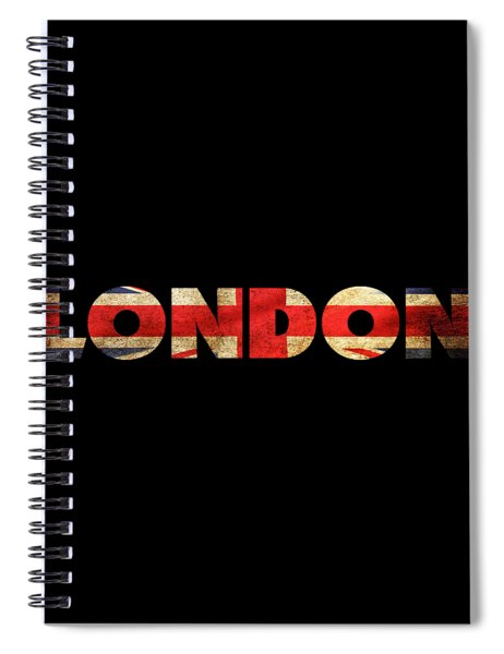 Spiral Notebook featuring the drawing London Vintage British Flag Tee by Edward Fielding