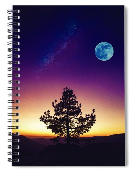 Lone Tree, Moon And Galaxy By Adam Asar Spiral Notebook