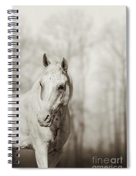 Lone White Wild Horse Spiral Notebook
