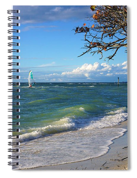 Lone Windsurfer At Wiggins Pass Spiral Notebook